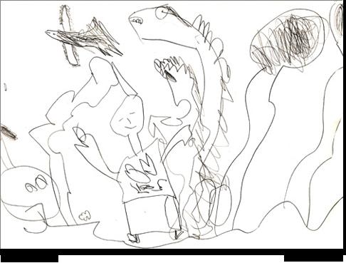Alessio, 5 anni, disegna liberamente