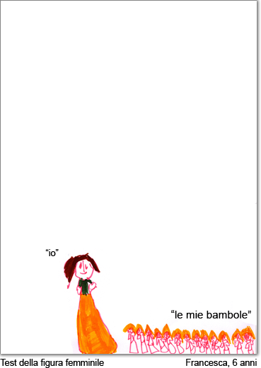 Francesca, 6 anni, disegna una figura femminile