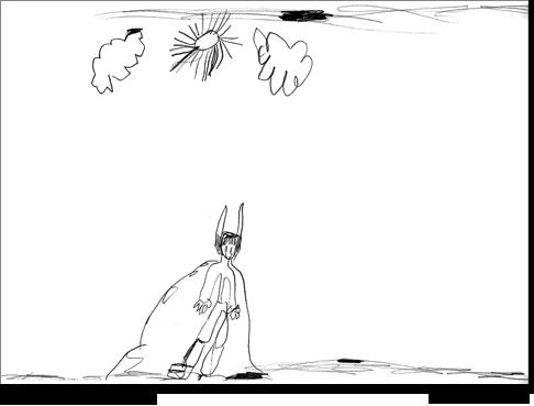 Massimo, 5 anni, disegna una figura maschile