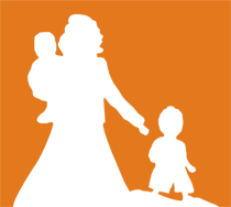 Illustrazione: sagoma di madre con figli su sfondo arancio