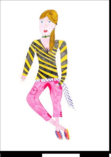 Angela, 12 anni, in un disegno in cui le si chiede di disegnare un personaggio femminile raffigura un'immagine femminile ideale, completamente diversa da sé stessa. La dovizia di particolari e lo squisito accostamento di colori segnano in lei una fase in cui dà molta importanza al fisico e ascolto attento all'emozione.