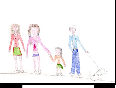Non così per Angela di anni 12 la cui famiglia sembra costituita da sorella-madre-Angela, mentre il padre, distante dalla traiettoria emozionale di gruppo, sembra far coppia con il cane.