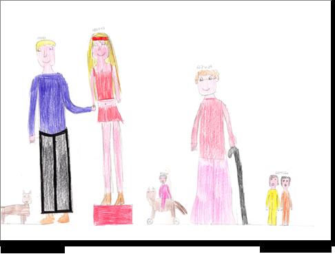 Domenica, 11 anni, nel disegno della sua famiglia dimentica di disegnare sé stessa, mostrando così una notevole  aggressività verso il suo nucleo familiare, ma soprattutto verso sua madre che situa su di un piedistallo. L'aggressività è espressa perfino verbalmente, durante l'esecuzione del disegno. Il disegno rivela la presenza di nuclei edipici non risolti (il padre sembra adorare solo la madre), una rivalità fraterna manifesta (piccole dimensioni dei fratelli), il tutto contornato da un'assai probabile incomunicabilità.