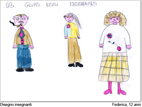 Federica, di 12 anni, disegna i suoi insegnanti.