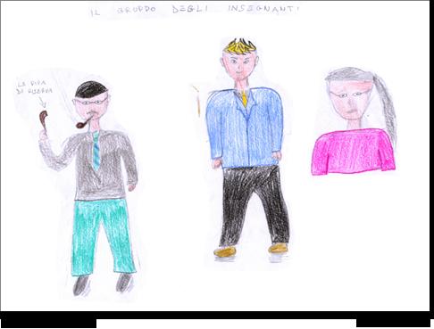 Marco, di 12 anni, disegna i suoi insegnanti.