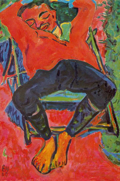 Il dipinto di Erich Heckel intitolato Der schlafende Pechstein