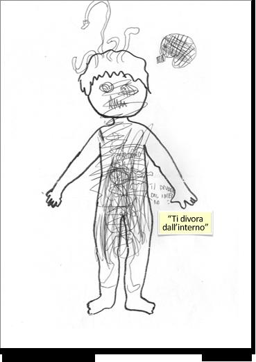 Carlo, 8 anni, disegna su una sagoma di corpo umano predisegnata.