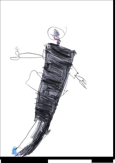 Elisa, 6 anni, disegna una figura femminile.