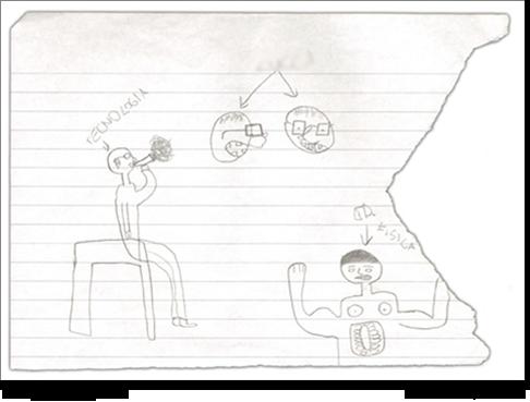 Gianfranco, 12 anni, disegna i suoi insegnanti.