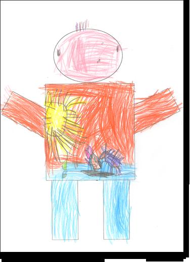 Gianni, 4 anni, disegna su una sagoma predisegnata di un corpo umano maschile.