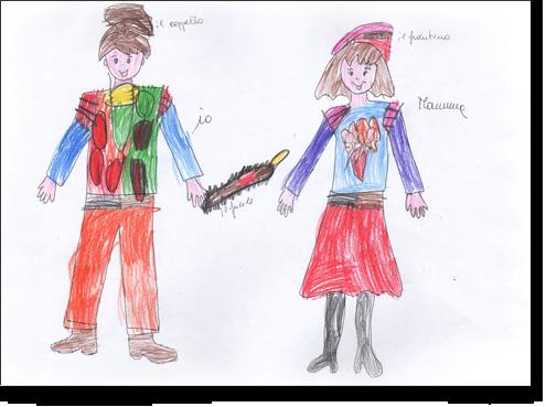 Gianni, 4 anni, disegna sulle sagome predisegnate di una coppia genitoriale.