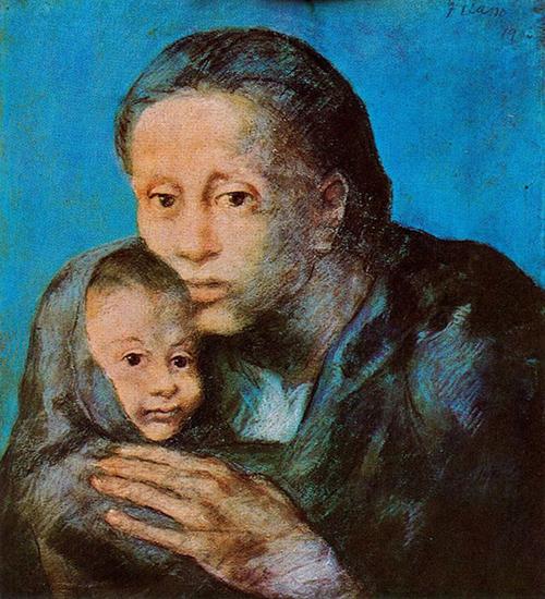 """""""Madre con bambino malato"""" di Pablo Picasso (1903), Museu Picasso di Barcellona."""