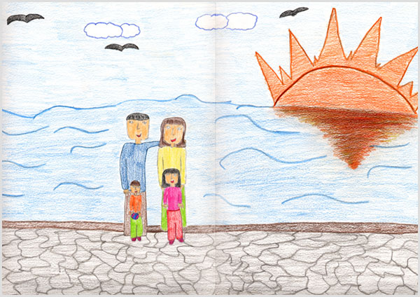 Rita, 12 anni, disegna la sua famiglia