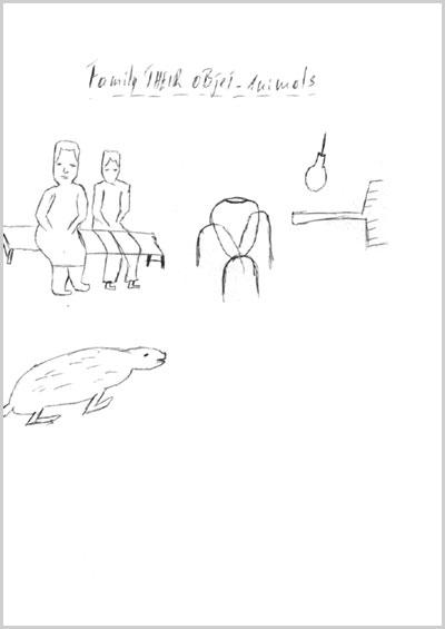 Anonimo ragazzo ruandese disegna la sua famiglia